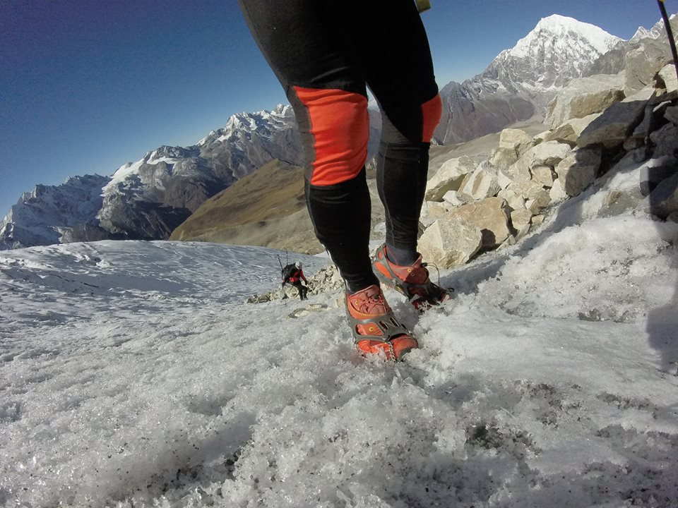Icy climb up to 5400 m  in Langtang valley, Nepal, to install a temperature sensor.