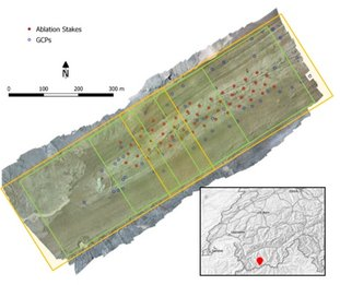 UAV survey scheme and GCP / ablation stakes locations, to create DEMs of 0.05 m resolution